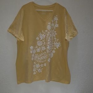 Yellow floral v-neck shirt